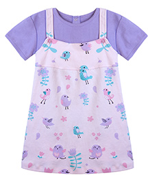 Chic Bambino A - Line Dress With Matching Tee Shirt With Bird & Twig Design - Pink & Purple