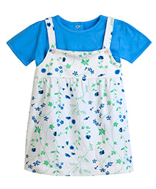 Chic Bambino A - Line Dress With Matching Tee Shirt With Flower Design - Yellow & Blue