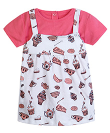 Chic Bambino A - Line Dress With Matching Tee Shirt With Tea Party Design - White & Coral