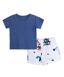 Chic Bambino V Neck Tee Shirt & Shorts With Circus Design - Navy & White