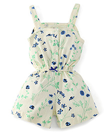 Chic Bambino Short Playsuit With Flower Design - Light Yellow