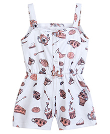 Chic Bambino Short Playsuit With Tea Party Design - White