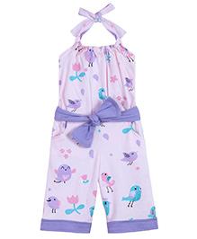 Chic Bambino Halter Neck Capri Jumpsuit & Belt With Bird & Twig Design - Pink & Purple