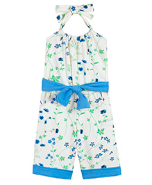 Chic Bambino Halter Neck Capri Jumpsuit & Belt With Flower Design - Yellow & Blue