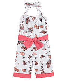 Chic Bambino Halter Neck Capri Jumpsuit & Belt With Tea Party Design - White & Coral