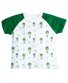 Chic Bambino Tee Hot Air Balloon Design - White & Green