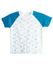 Chic Bambino Tee Peeping Hippo Design - White & Blue