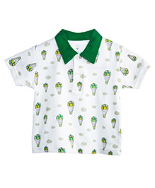 Chic Bambino Collar T-Shirt Hot Air Balloon Design - White & Green