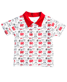 Chic Bambino Collar T-Shirt Away We Go Design - White & Red