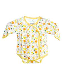 Chic Bambino Envelope Neck Bodysuit Bird & Flower Design - White & Yellow