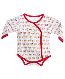 Chic Bambino Envelope Neck Bodysuit - White & Red