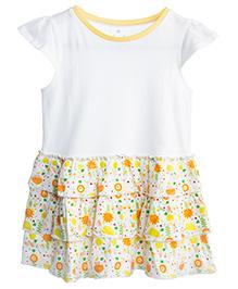 Chic Bambino Sun & Flower Print Dress - White & Yellow