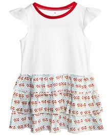 Chic Bambino Wild Flowers Print Dress - White & Red