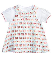 Chic Bambino Pinafore Wild Flowers Design Dress - White & Red
