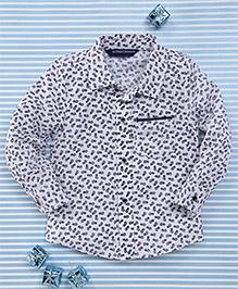 Bambini Kids Elegant Full Sleeves Shirt - White & Navy Blue
