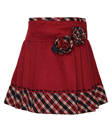Cutecumber Party Wear Skirt Flower Appliques - Maroon