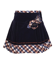 Cutecumber Party Wear Skirt Flower Appliques - Navy