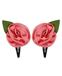 Miss Diva Elegant Rose Flower With Leaf Tic Tac Set - Coral Pink
