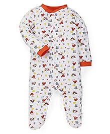 Babyhug Full Sleeves Sleep Suit Animals Print - Orange White