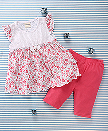 Mimiwinga Flower Print Dress & Leggings - Pink