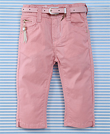 Bambini Kids Pant With Belt - Peach
