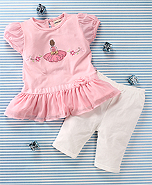 Mimiwinga Doll Print Dress & Leggings - Pink & White