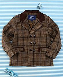 Bambini Kids Checks Print Gentlemen Blazer - Brown