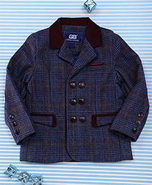 Bambini Kids Checks Print Gentlemen Blazer - Navy Blue