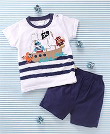Mimiwinga Ship Print T-Shirt & Shorts - White & Blue
