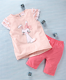 Mimiwinga Rabbit Print Top & Leggings - Cream & Pink