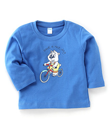 Tango Full Sleeves T-Shirt With Have A Nice Day Print - Blue