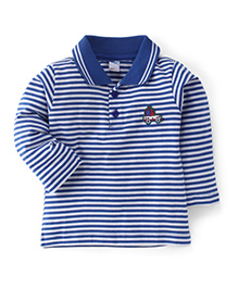 Tango Full Sleeves Striped Polo Neck T-Shirt - Royal Blue