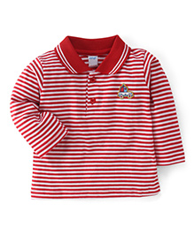 Tango Full Sleeves Striped Polo Neck T-Shirt - Red
