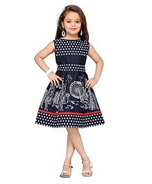K&U Sleeveless Party Dress Dots Print - Navy
