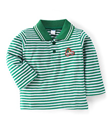 Tango Full Sleeves Striped Polo Neck T-Shirt - Green