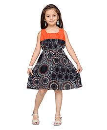 K&U Sleeveless Party Dress Printed - Orange And Black