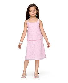 K&U Singlet Layered Dress Floral Print - Light Pink