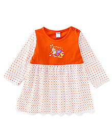 Tango Full Sleeves Frock With Bird Print - Orange & White