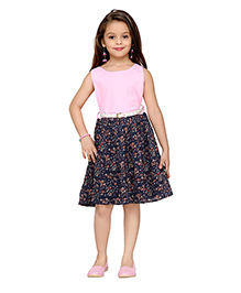 K&U Sleeveless Party Dress With Belt Floral Print - Pink And Navy