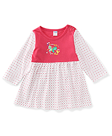 Tango Full Sleeves Frock With Bird Print - Pink & White