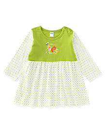 Tango Full Sleeves Frock With Bird Print - Green & White