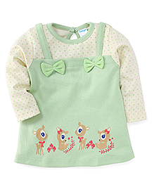 Tango Full Sleeves Frock With Deer Print - Green