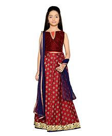 K&U Lehenga Choli And Dupatta Set Lace Design - Maroon