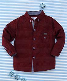 Gigilily Tiny Dot Print Full Sleeves Shirt - Maroon
