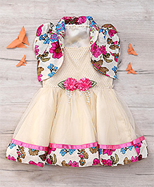 Eiora Beautiful Partywear Dress - Pink & Gold
