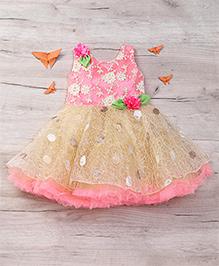 Eiora Beautiful Partywear Dress - Fawn & Pink