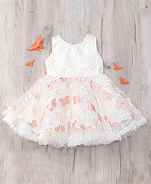Eiora Beautiful Partywear Dress - Off White & Peach