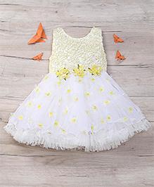 Eiora Beautiful Partywear Dress - Yellow & White