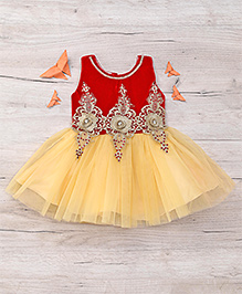 Eiora Beautiful Partywear Dress - Maroon & Gold