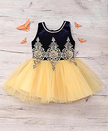 Eiora Beautiful Partywear Dress - Blue & Gold